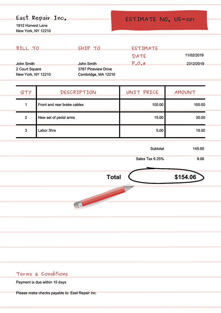 Estimate Template Us Workbook Red No Logo
