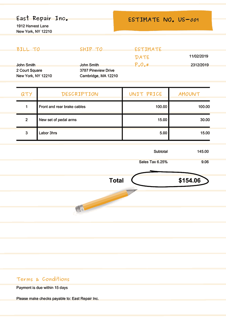 Estimate Template Us Workbook Yellow No Logo