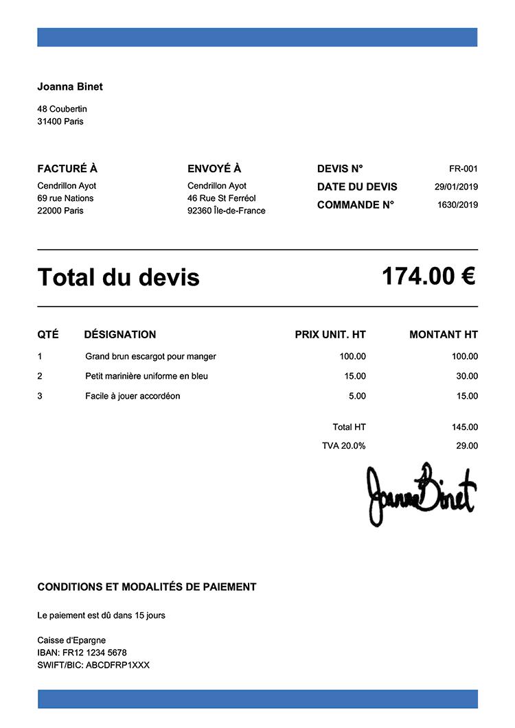 Exemple De Devis Fr Bande Bleu