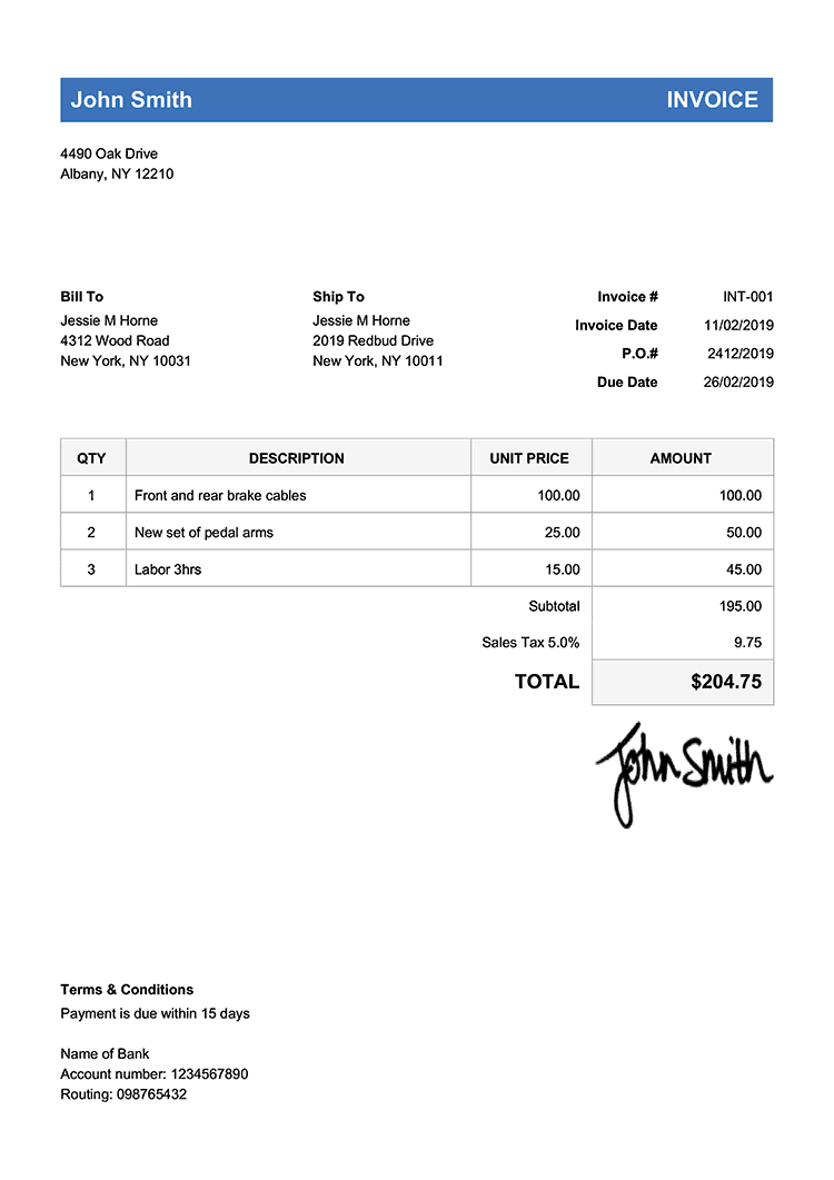 sample invoice for payment