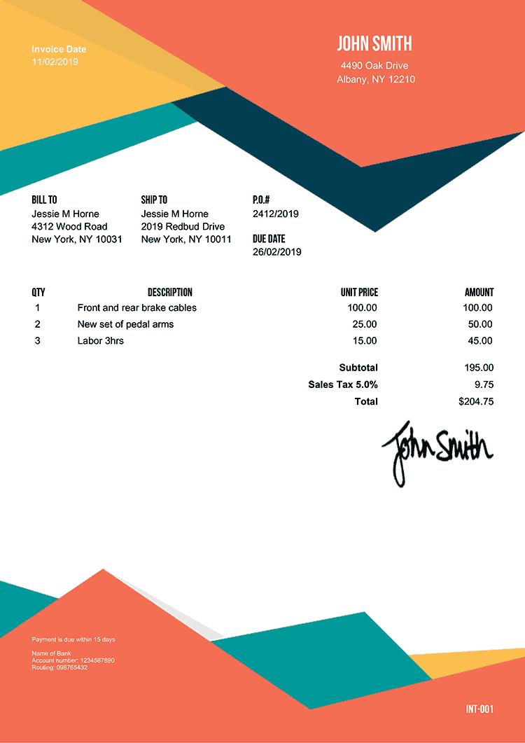 100 free invoice templates