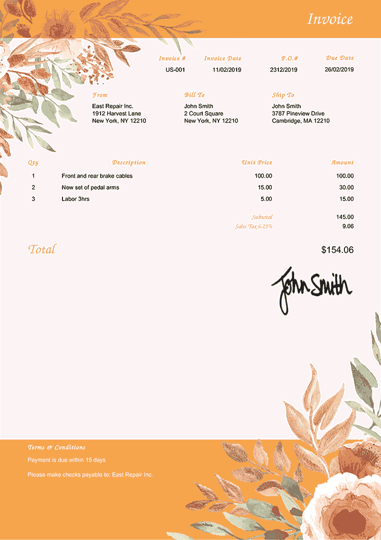 Invoice Template Us Blooming Orange