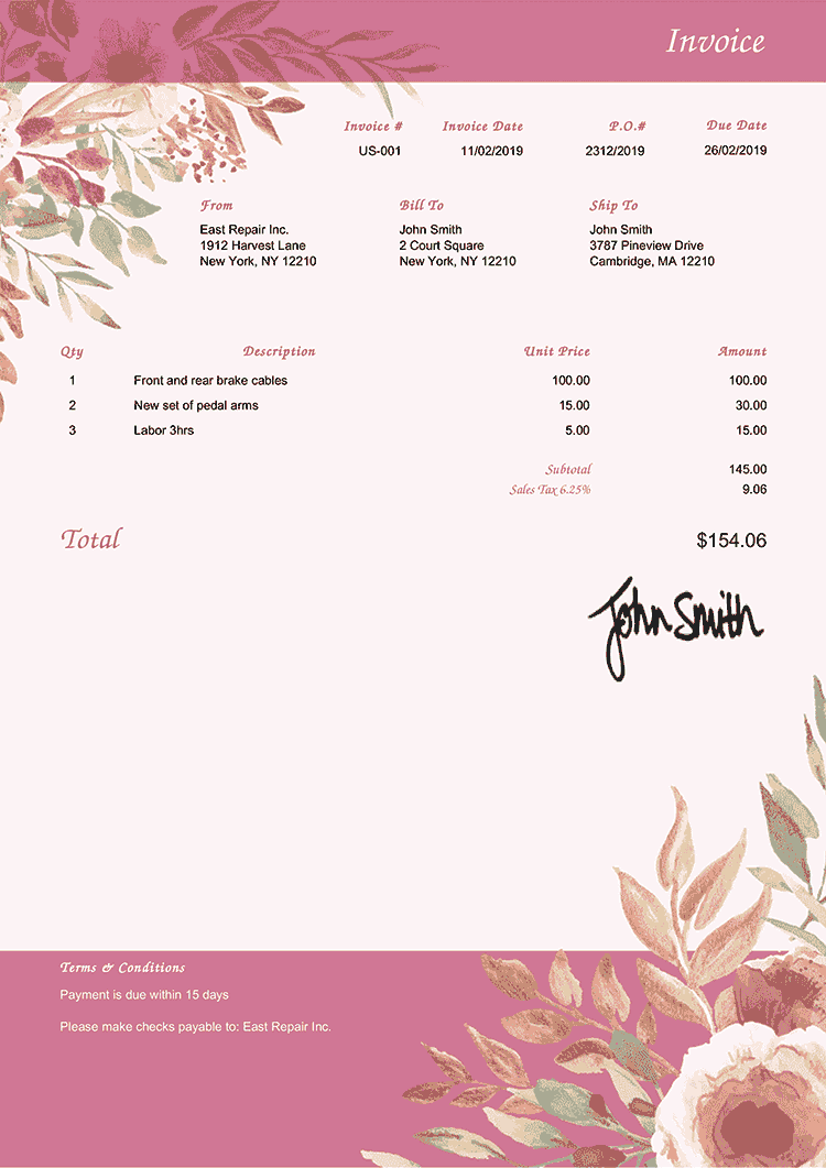 Invoice Template Us Blooming Rose