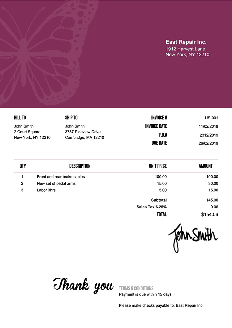 Invoice Template Us Butterfly Purple
