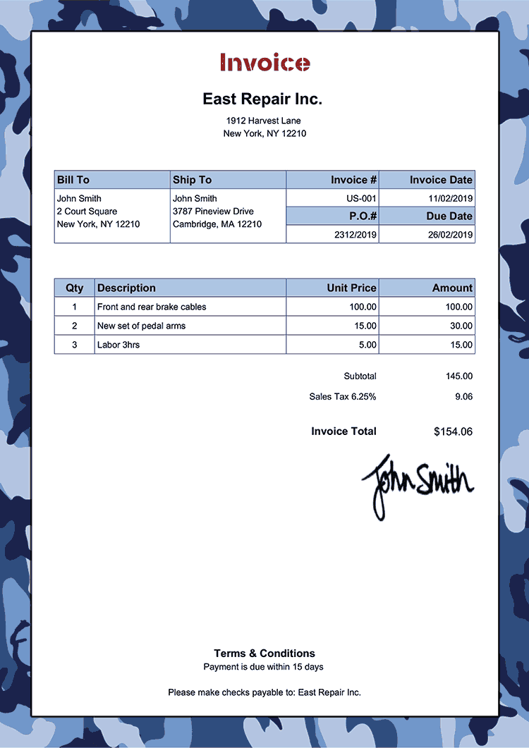 Invoice Template Us Camo Blue