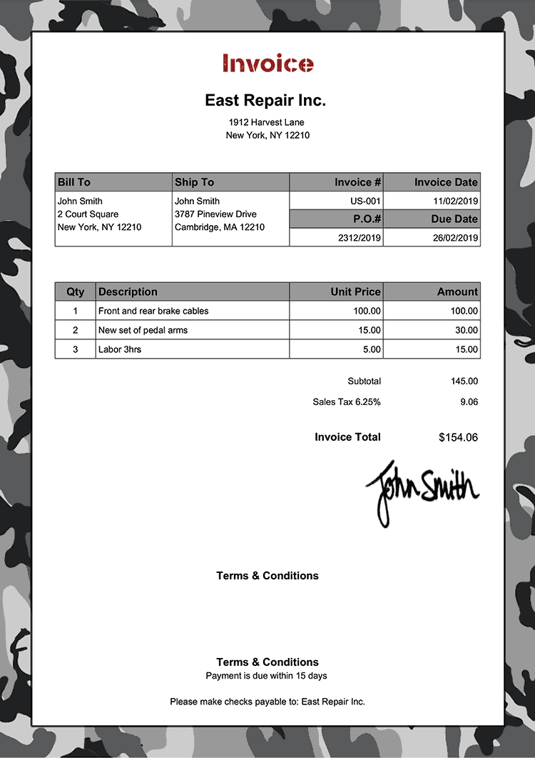 Invoice Template Us Camo Gray