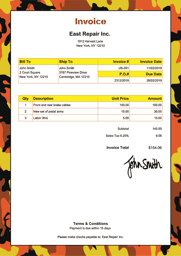 Invoice Template Us Camo Orange