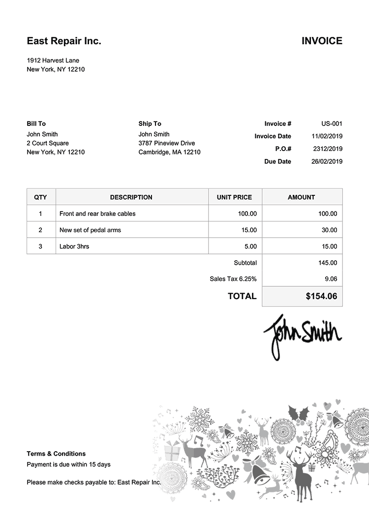Invoice Template Us Christmas Motif Black
