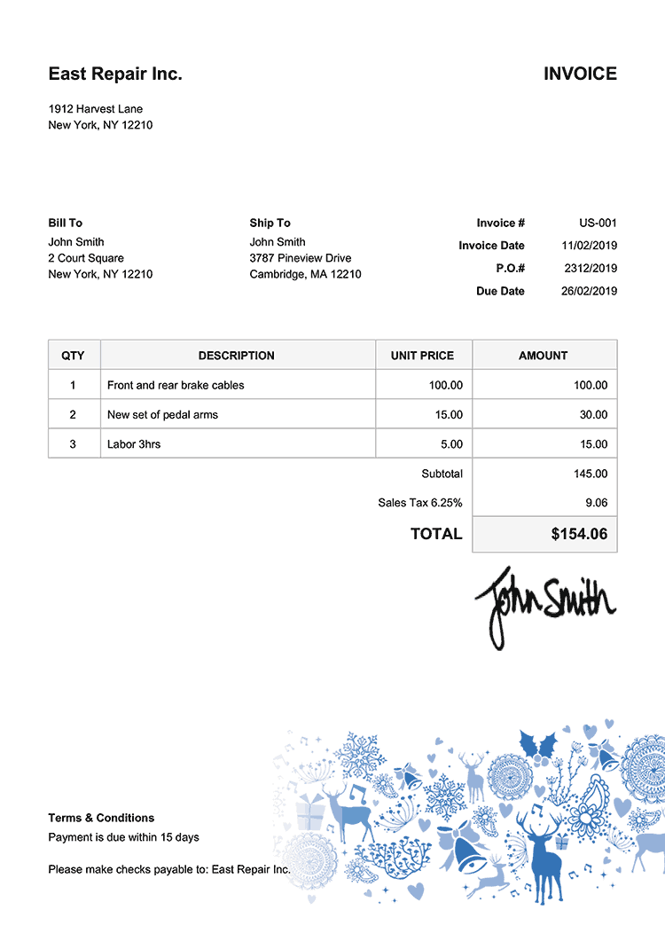 Invoice Template Us Christmas Motif Blue