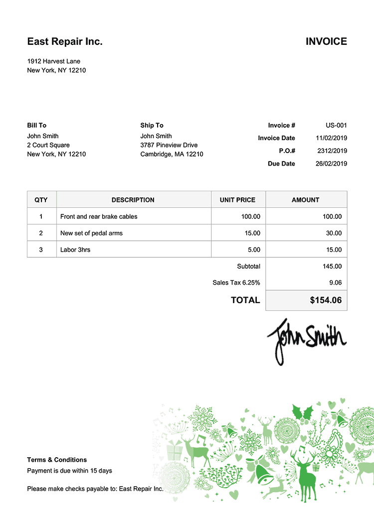 Invoice Template Us Christmas Motif Green