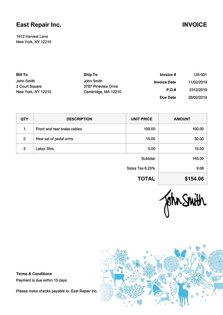 Invoice Template Us Christmas Motif Light Blue