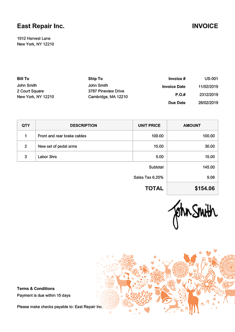 Invoice Template Us Christmas Motif Orange