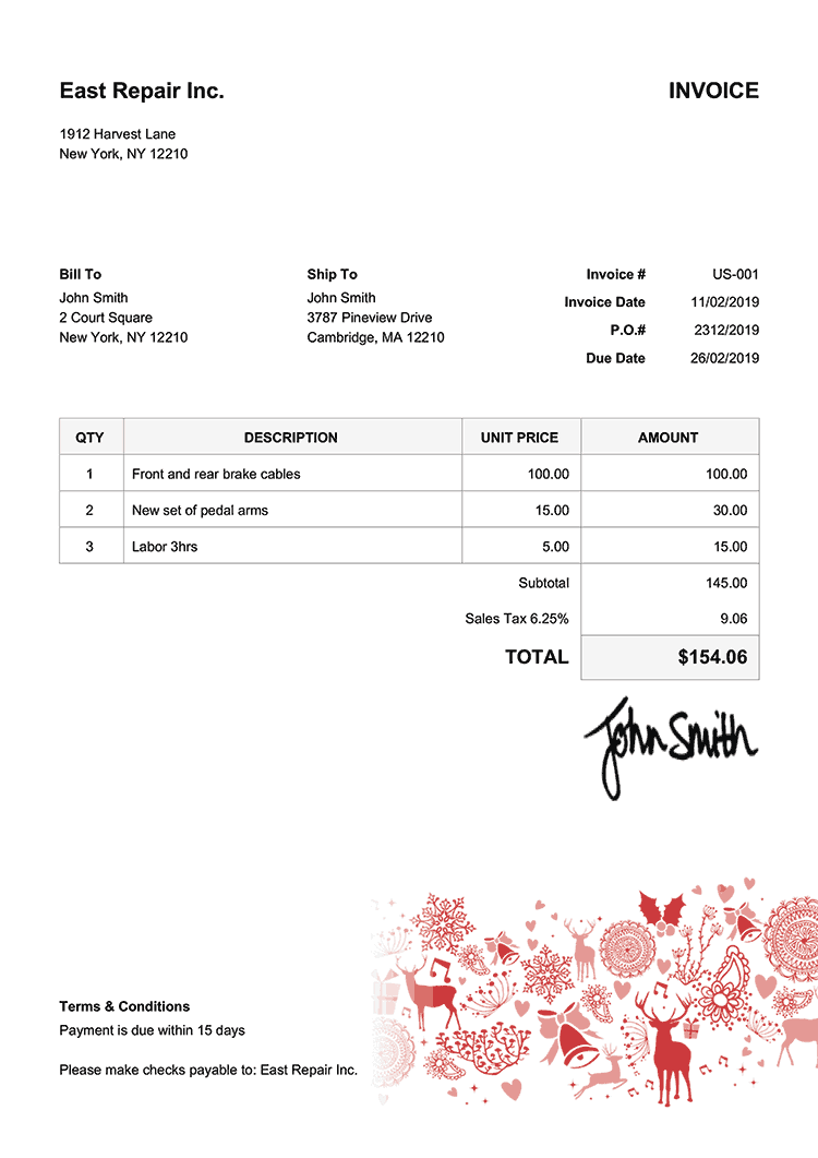 Invoice Template Us Christmas Motif Red