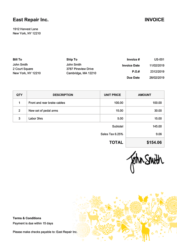 Invoice Template Us Christmas Motif Yellow