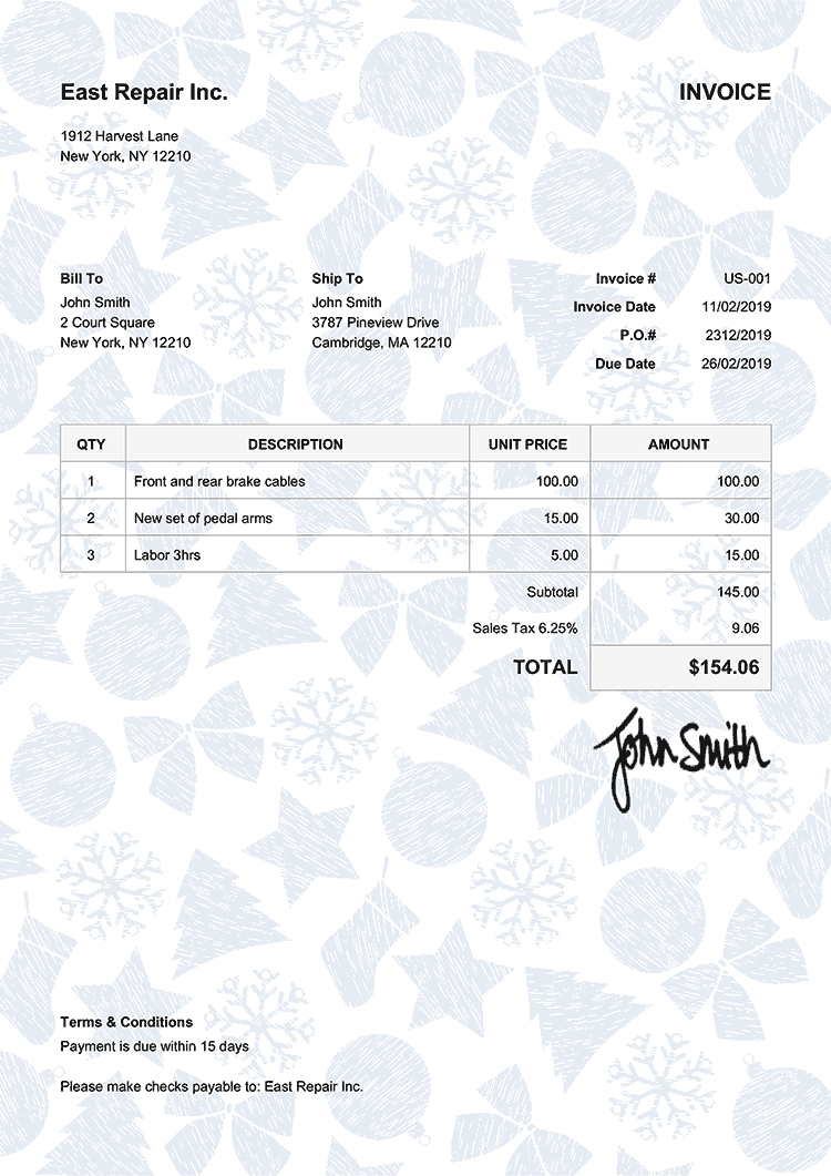 Invoice Template Us Christmas Pattern Blue