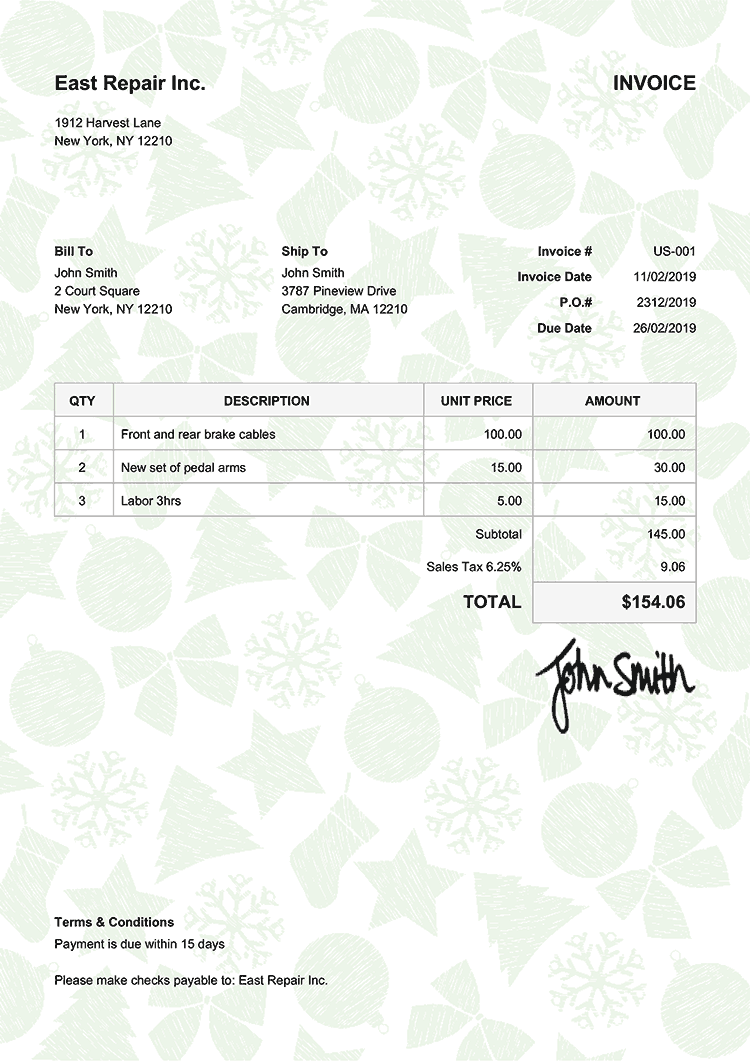Invoice Template Us Christmas Pattern Green