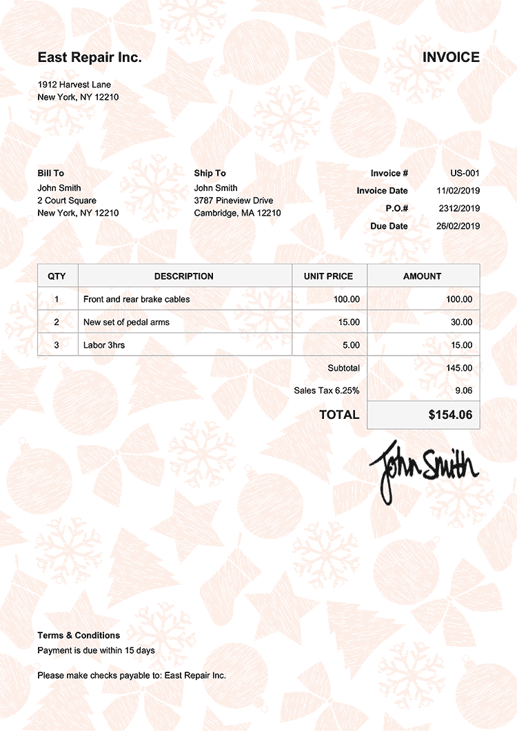 Invoice Template Us Christmas Pattern Orange