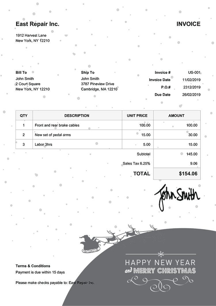 Invoice Template Us Christmas Santa Black