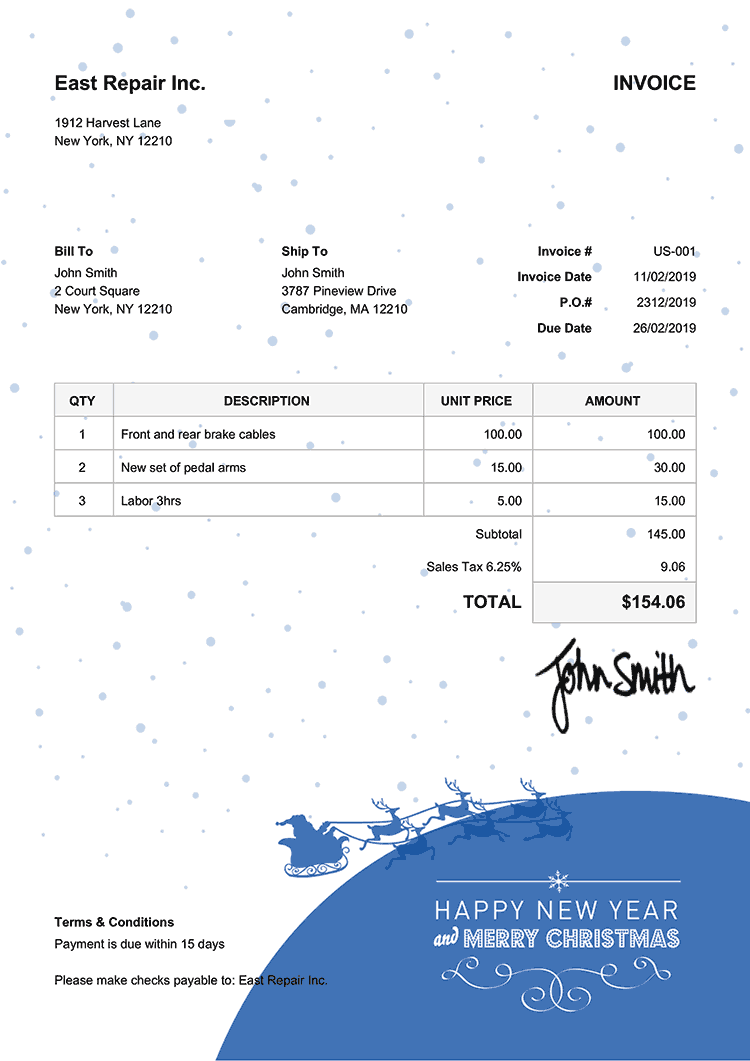 Invoice Template Us Christmas Santa Blue
