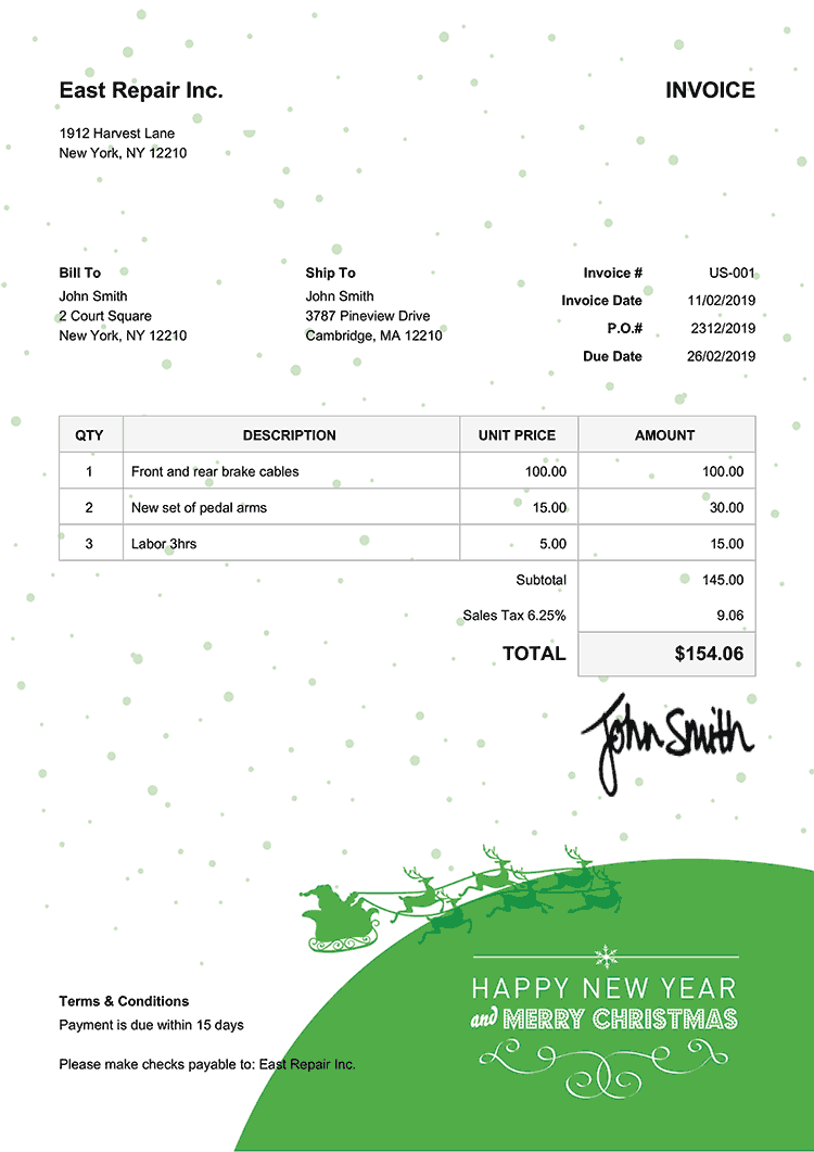 Invoice Template Us Christmas Santa Green