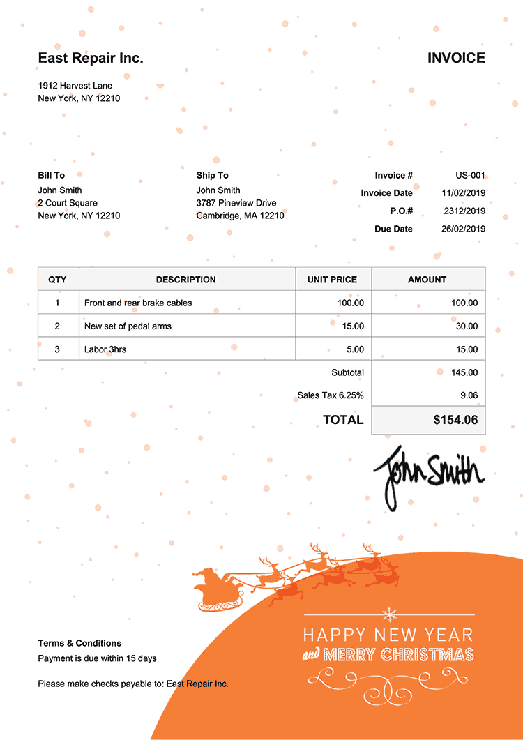 Invoice Template Us Christmas Santa Orange