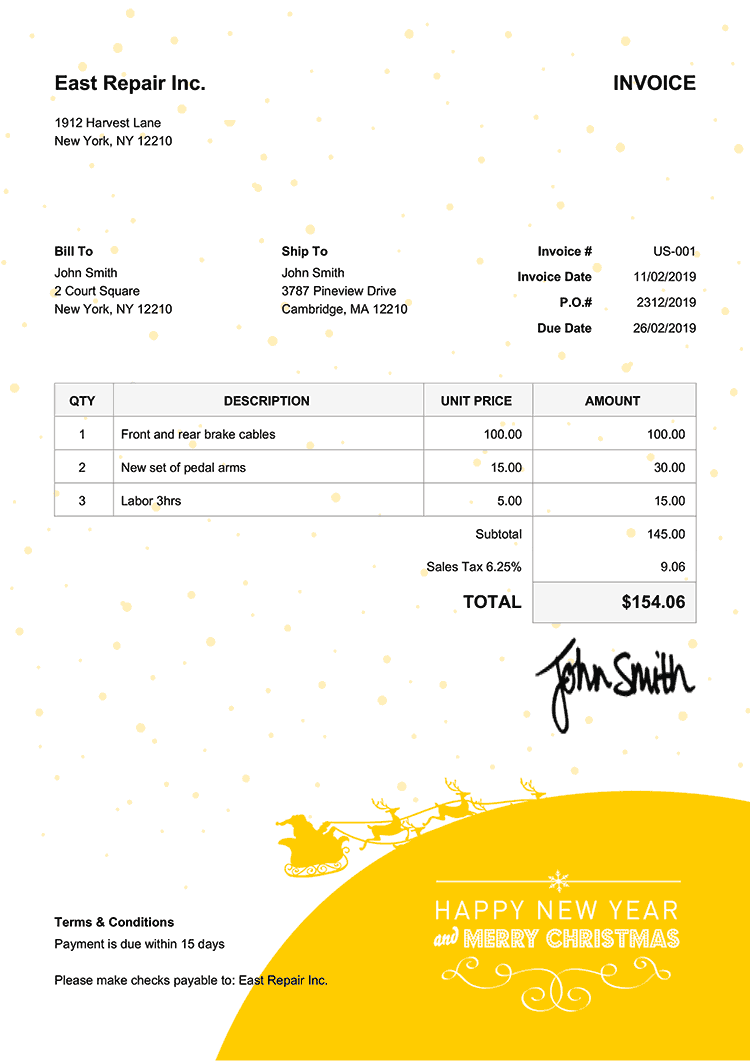 Invoice Template Us Christmas Santa Yellow