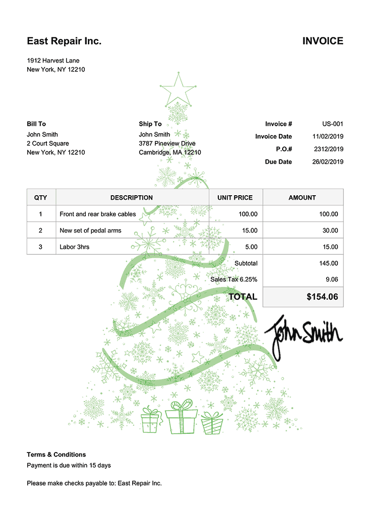Invoice Template Us Christmas Tree Green