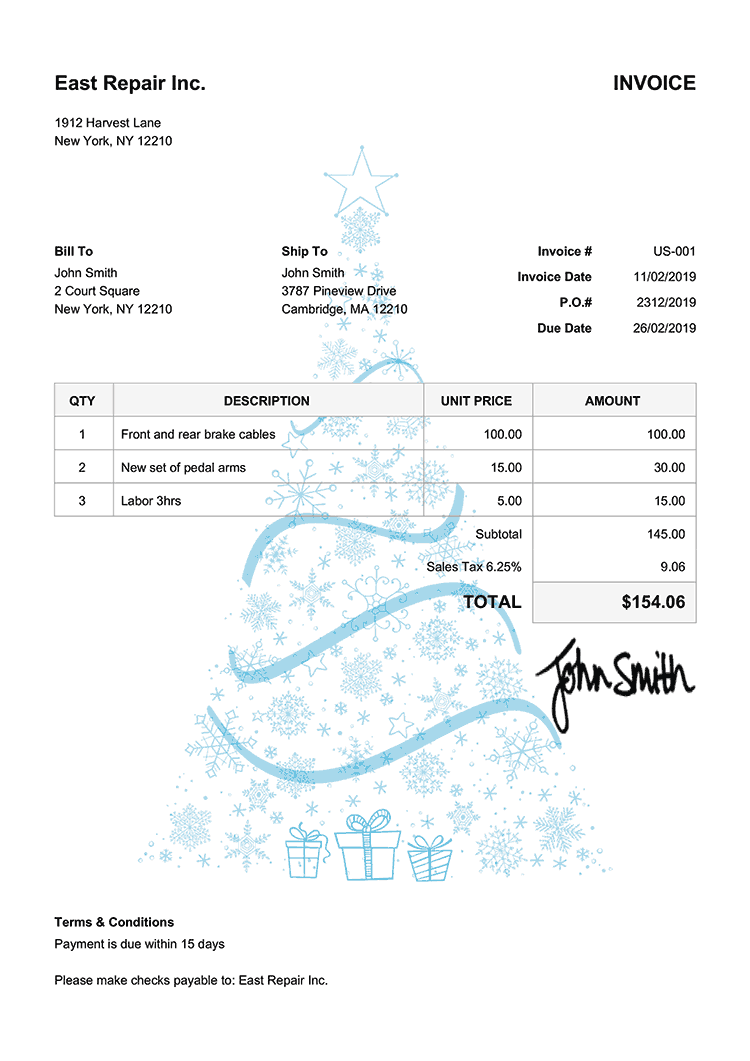 Invoice Template Us Christmas Tree Light Blue
