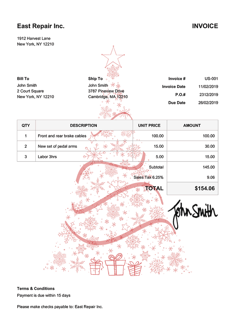 Invoice Template Us Christmas Tree Red