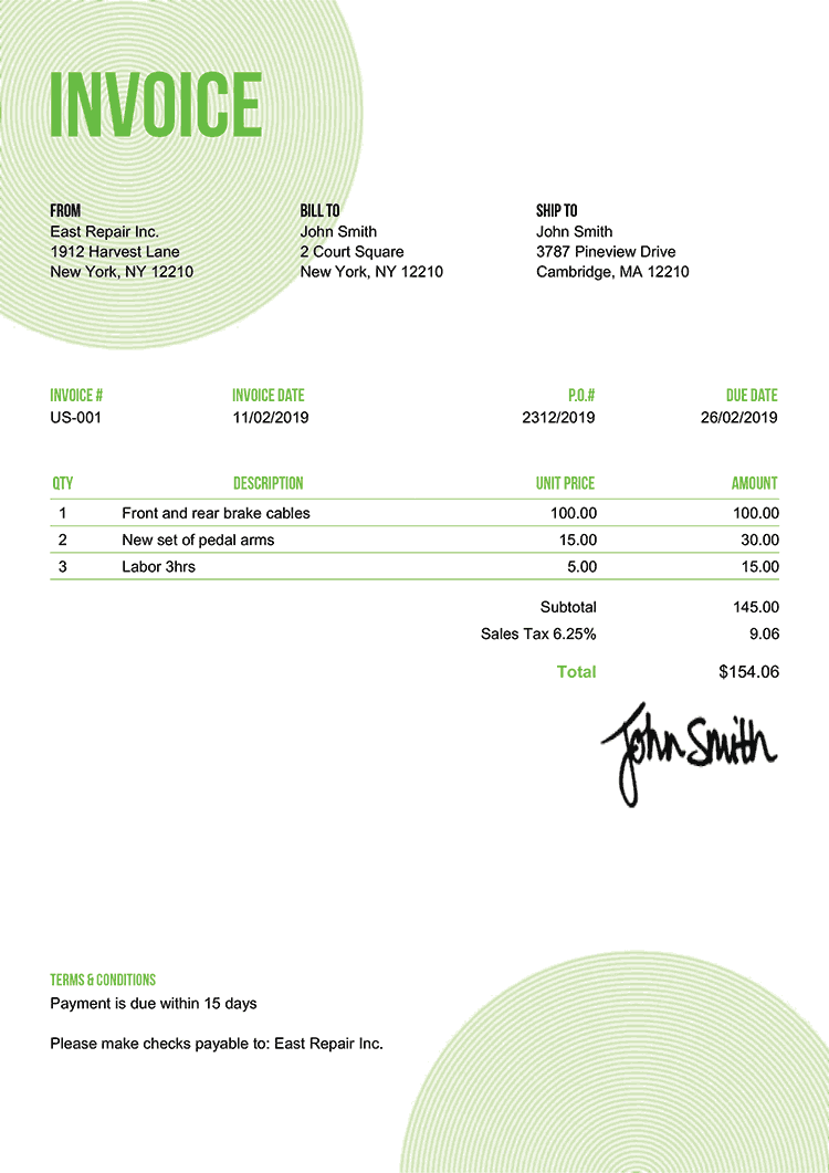 Invoice Template Us Circles Green