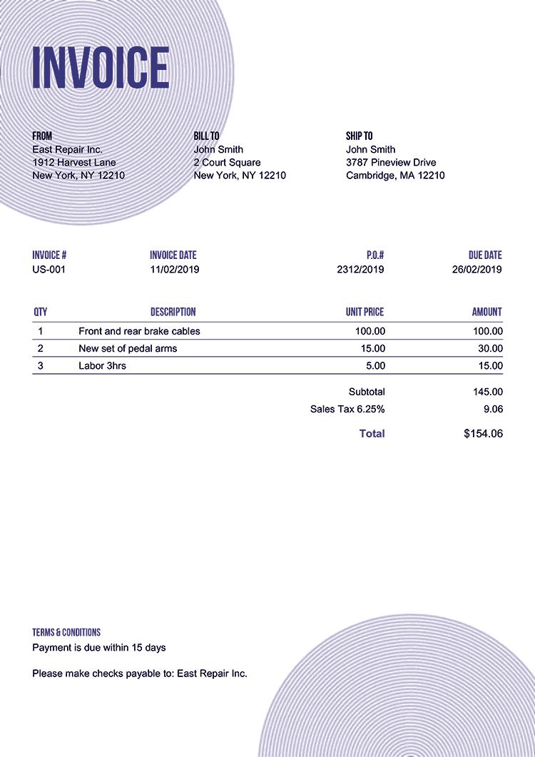 Invoice Template Us Circles Purple No Logo