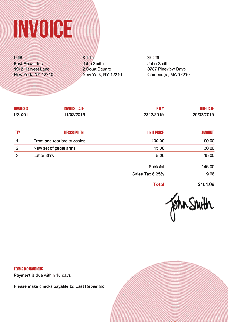 Invoice Template Us Circles Red