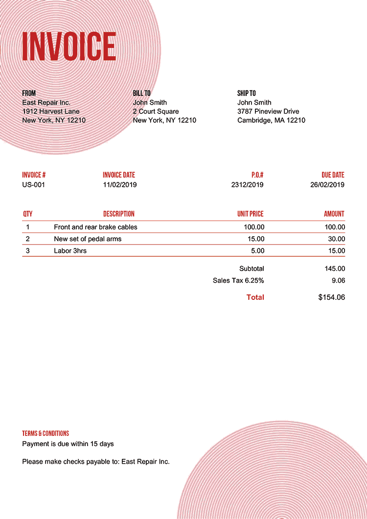 Invoice Template Us Circles Red No Logo