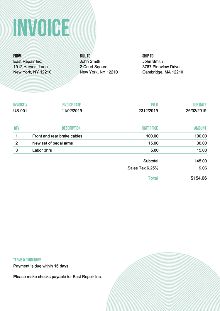 Invoice Template Us Circles Turquoise No Logo