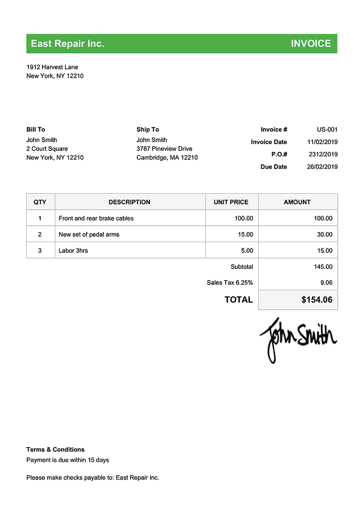 Invoice Template Us Classic Green