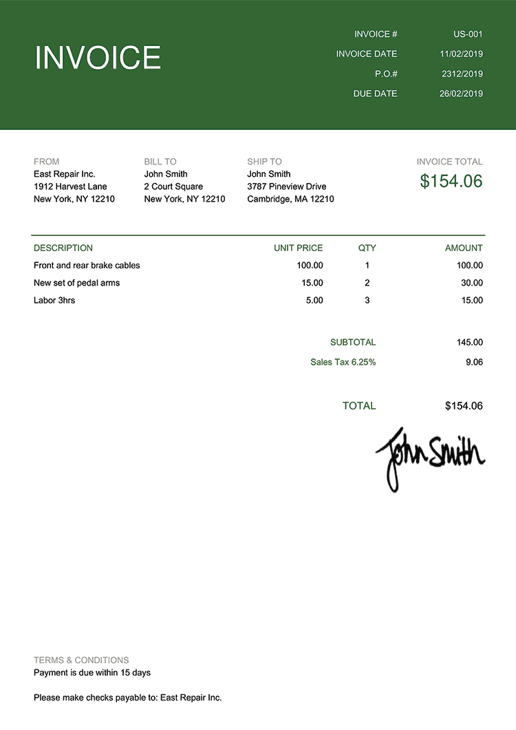 Invoice Template Us Contemporary Green