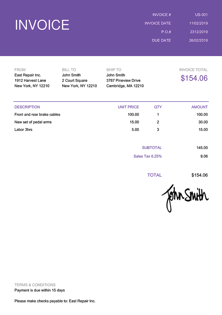 Invoice Template Us Contemporary Purple
