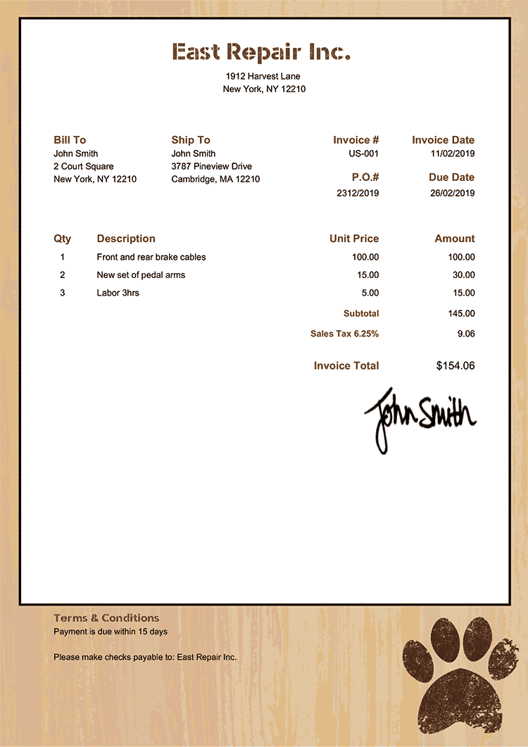 Invoice Template Us Dog Walker