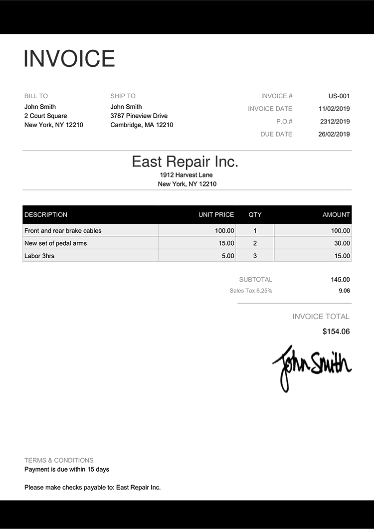Invoice Template Us Enterprise Black