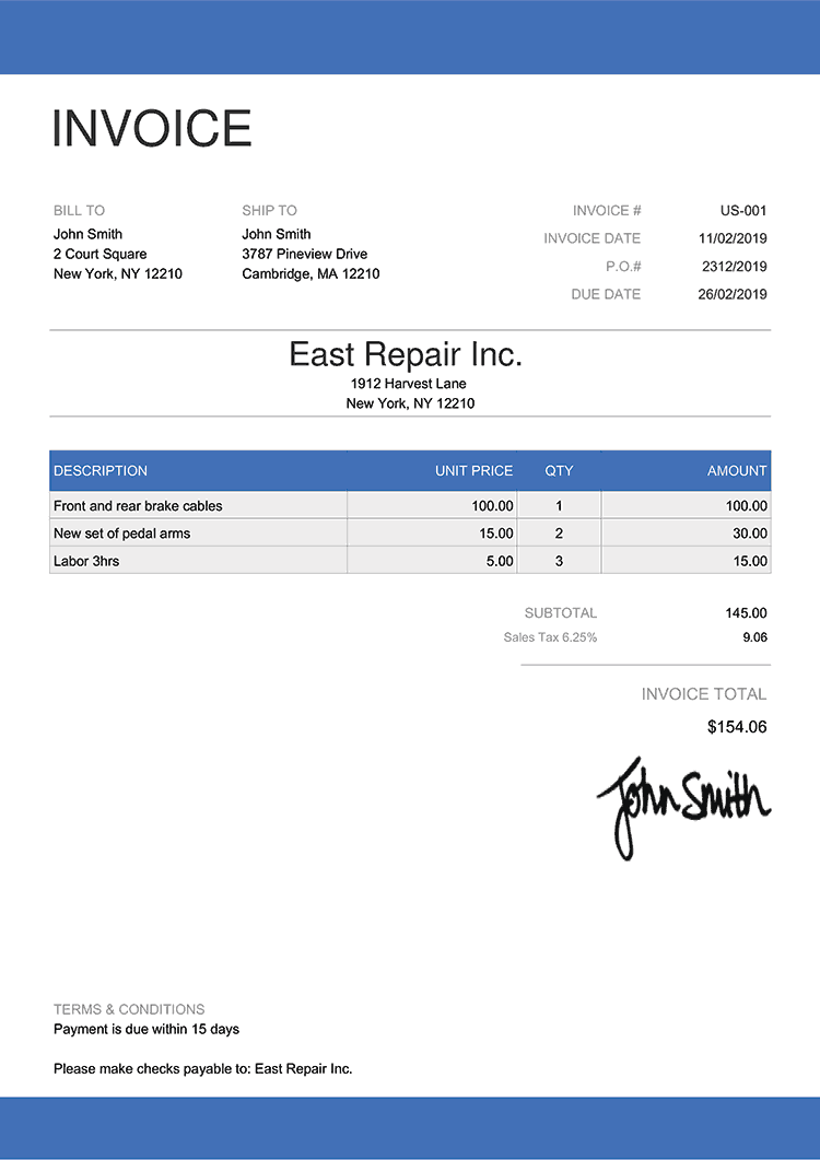Invoice Template Us Enterprise Blue