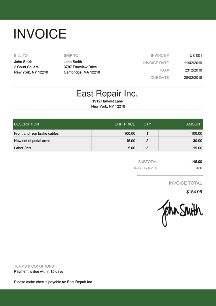 Invoice Template Us Enterprise Green