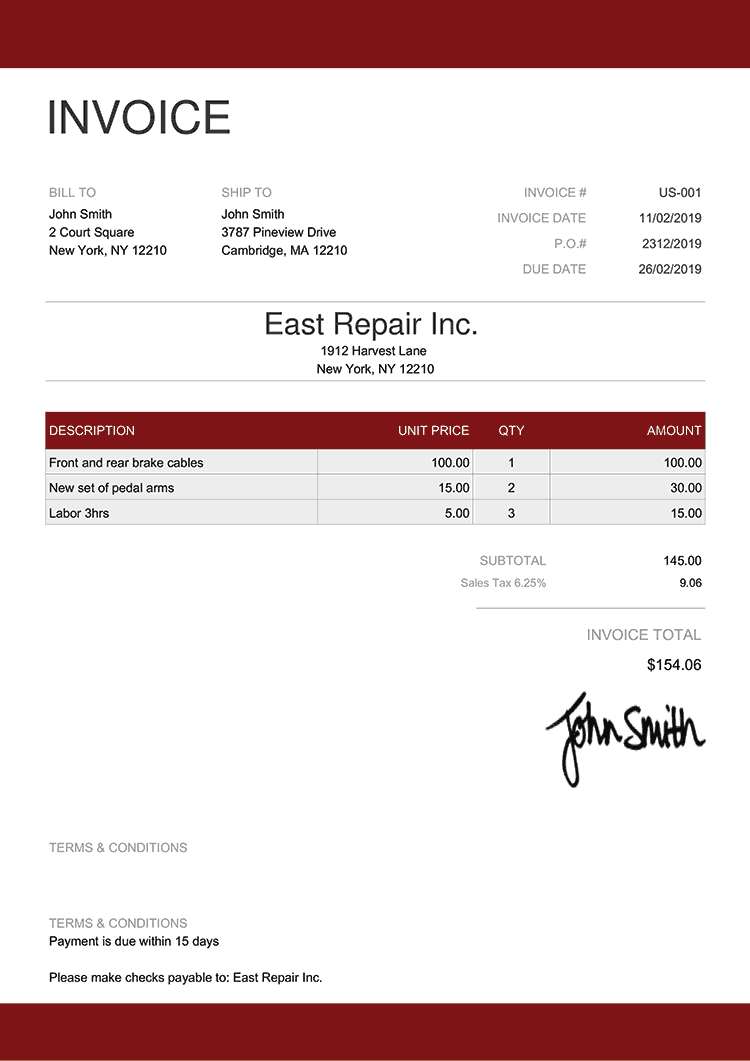 Invoice Template Us Enterprise Red