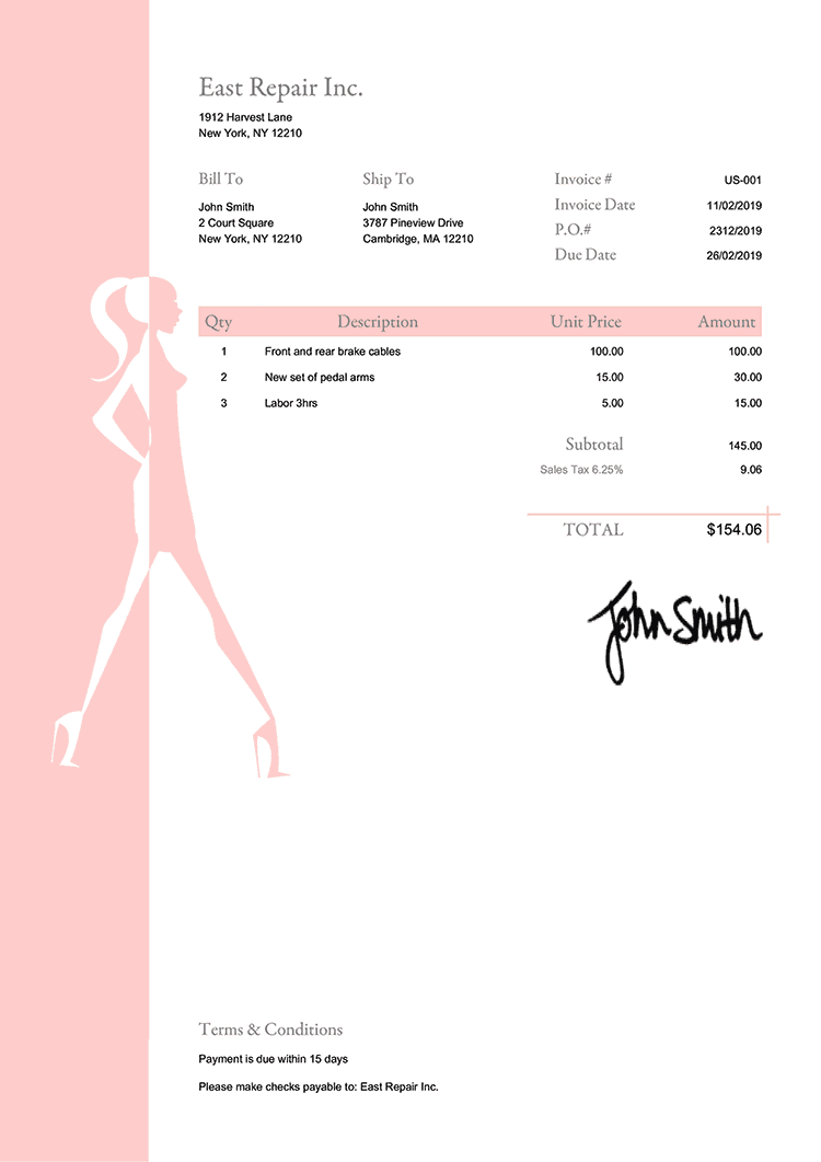 Invoice Template Us Fashionista Peach
