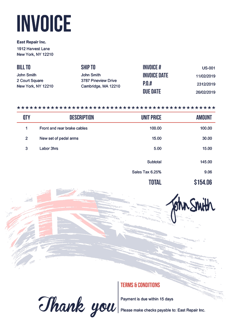Invoice Template Us Flag Of Australia