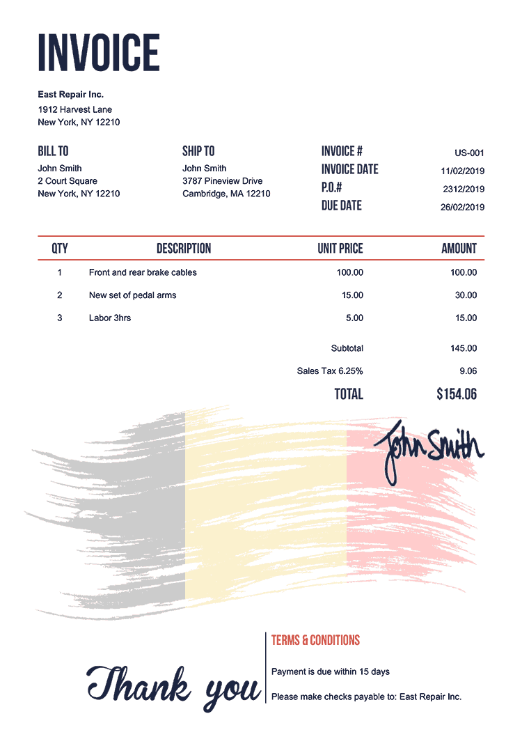 Invoice Template Us Flag Of Belgium