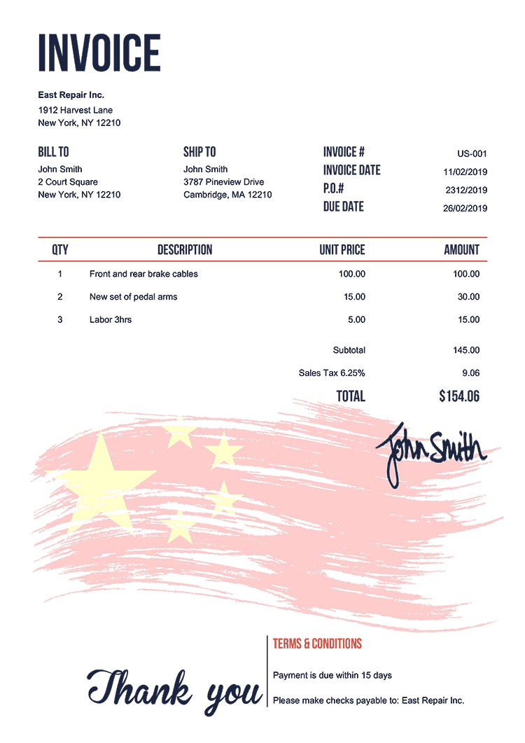 Invoice Template Us Flag Of China
