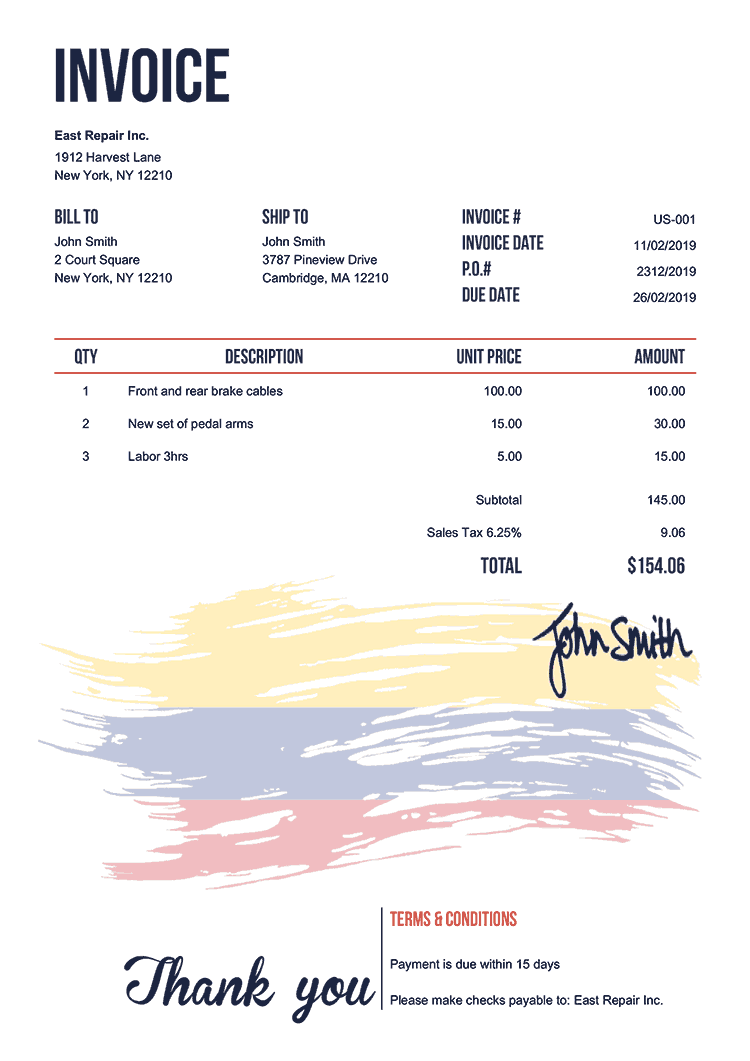 Invoice Template Us Flag Of Colombia