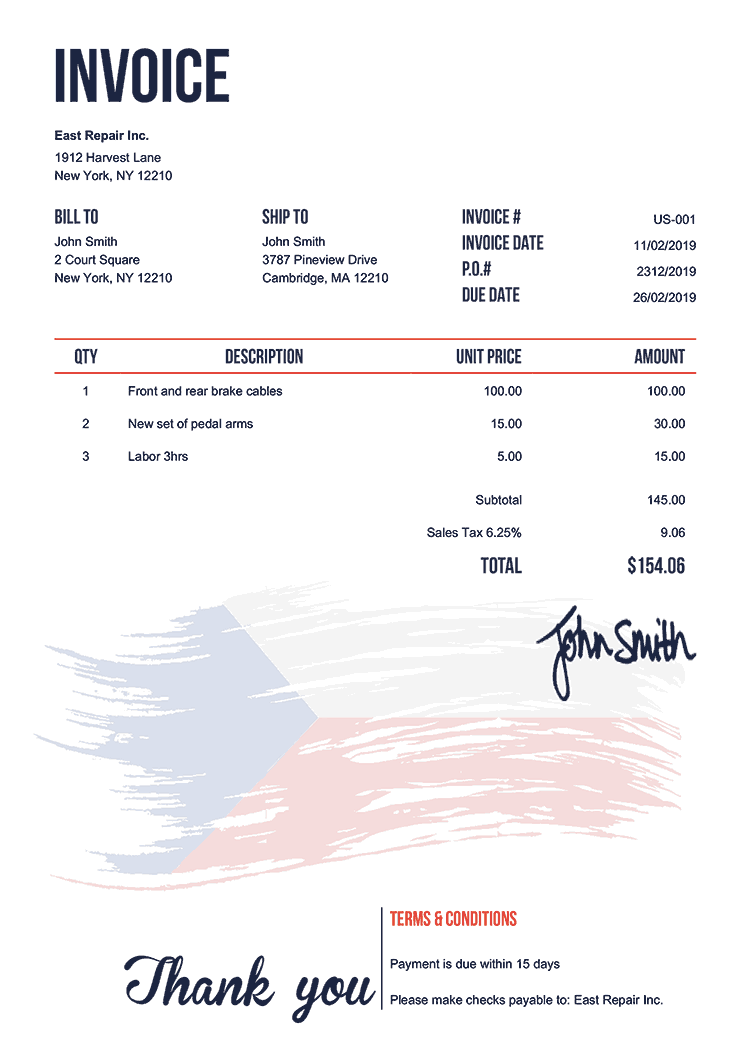 Invoice Template Us Flag Of Czechia