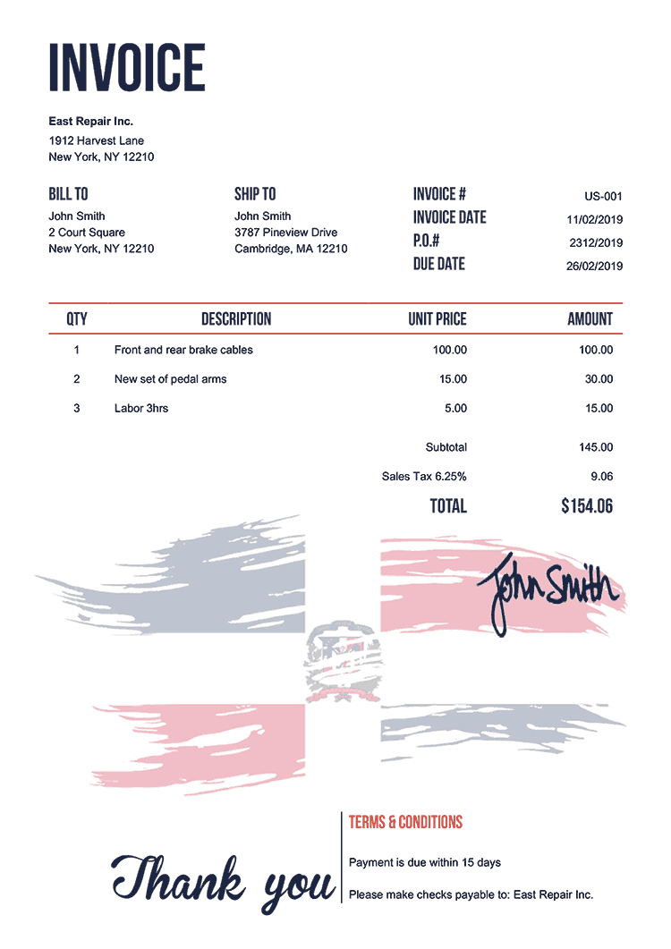 Invoice Template Us Flag Of Dominican Republic