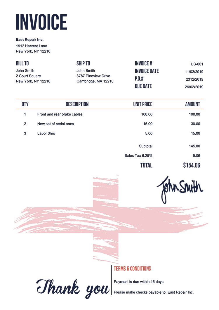 Invoice Template Us Flag Of England